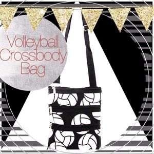 Handbags - Black Volleyball Print Crossbody Bag